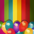 Vector card with colorful background and balloons