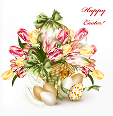 Cute Easter greeting card with basket full of realistic  tulips