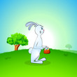 Cute Easter Bunny with Easter Eggs basket on nature background.