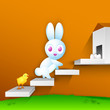 Easter bunny with little chick on stairs, Happy Easter Backgroun