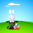 Cute Easter Bunny with beautiful painted Easter Eggs on grass, n