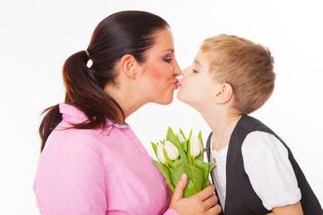 mama und kind mit blumen