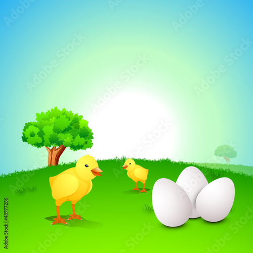 Little Easter Chick with Easter Eggs on nature background. EPS 1