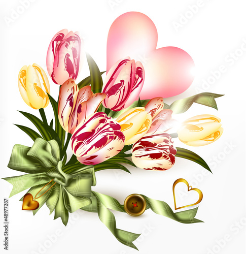 Cute valentine background with  pink heart and realistic tulip f