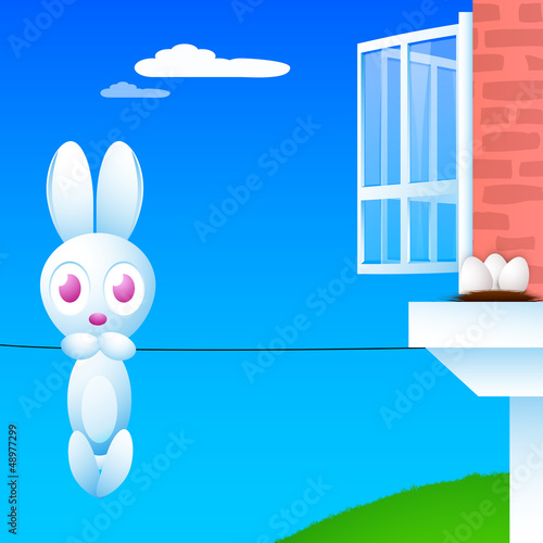 Happy Easter background with hanging Easter bunny,