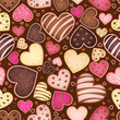 seamless chocolate pattern with sweetmeat in form heart