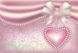 Valentine's Day banner with heart and pearls