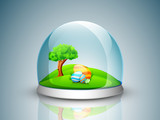 Beautiful painted Easter Eggs and nature background in glass gif