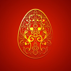 Beautiful floral decorated Easter Egg on red background. EPS 10.