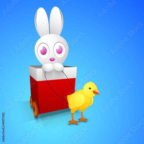 Happy Easter background with cute bunny in red gift cart and lit