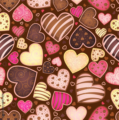 Fototapeta seamless chocolate pattern with sweetmeat in form heart