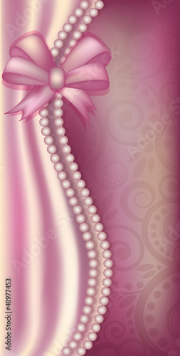 Valentine s Day banner with pearls, vector