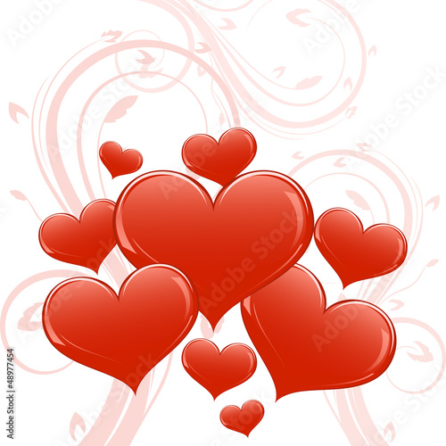 Abstract glossy heart shapes Valentine card.