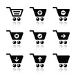 Shopping cart vector icons set