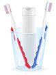 toothbrush and toothpaste in a glass vector illustration