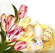 Easter greeting card with nest full of eggs and tulips