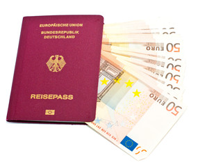 International passport with Euro banknotes