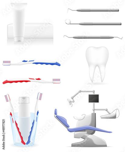 set dental icons vector illustration