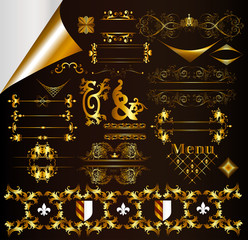 Gold-framed calligraphic design elements and page decorations