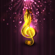 Golden musical note on abstract background.