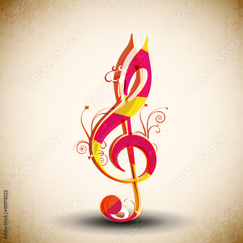 Colorful Musical Note on abstract background.
