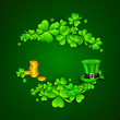 Irish four leaf lucky clovers, golden coins and leprechaun hat b