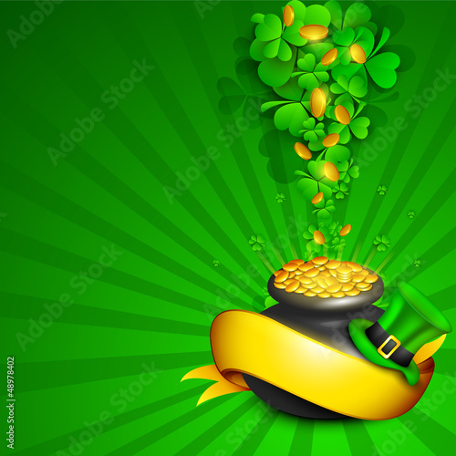 Irish four leaf lucky clovers rays background with golden coins