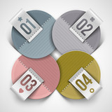 Numbered infographics round paper labels