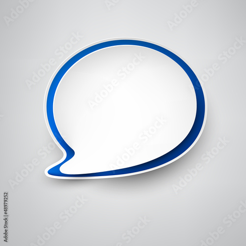 Paper white-blue speech bubble.