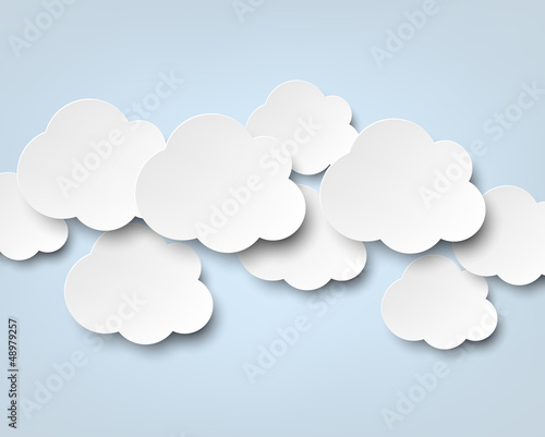 Paper white clouds on blue. - 48979257