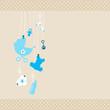Card Baby Symbols Boy Dots Border Beige