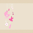 Card Baby Symbols Girl Dots Border Beige