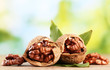 walnuts with green leaves, on green background
