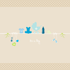 Baby Symbols Boy Dots Border Card