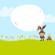 Bunny Pulling Handcart Easter Basket Speech Bubble