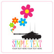 Abstract vector illustration with tank and flowers. Place for yo