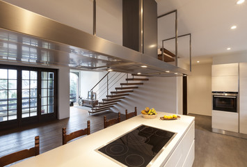 modern loft, view of the kitchen