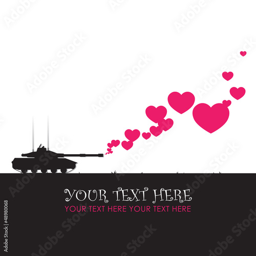 Abstract vector illustration with tank and hearts. Place for you