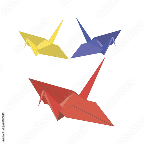 Deurstickers Geometrische dieren origamis. three birds from paper.Vector illustration