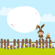 Bunny Fence Pulling Handcart Easter Basket Speech Bubble