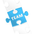 "pieces of puzzle and word ""team""."