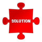 "pieces of puzzle and word ""solution""."