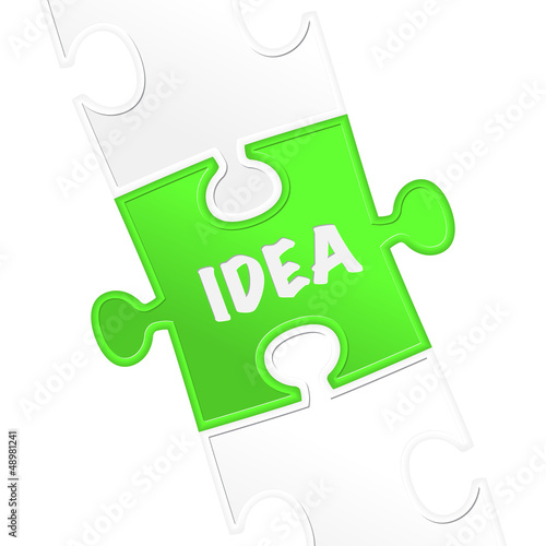 "pieces of puzzle and word ""idea ""."