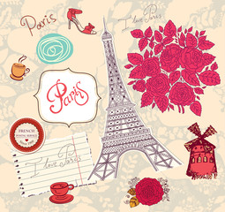 Vector set of Paris symbols