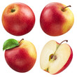 Red apple collection. set of fruits and leaf isolated on white