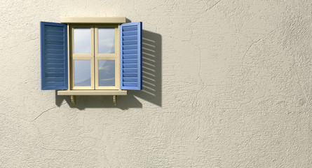 Window With Blue Shutters Front