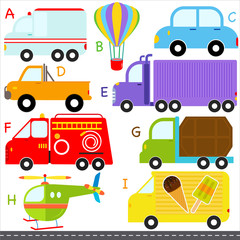 A set of cute vector A-Z alphabets : Car Vehicles Transportation