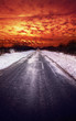 sunset snow road