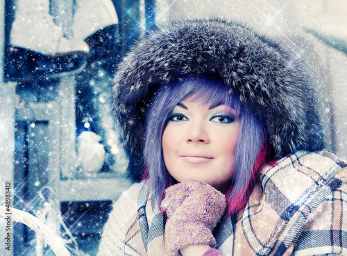 beautiful woman in winter fur hat.