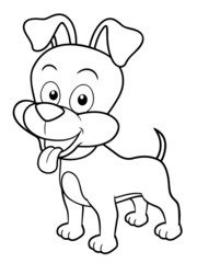 illustration of Cartoon Dog - Coloring book